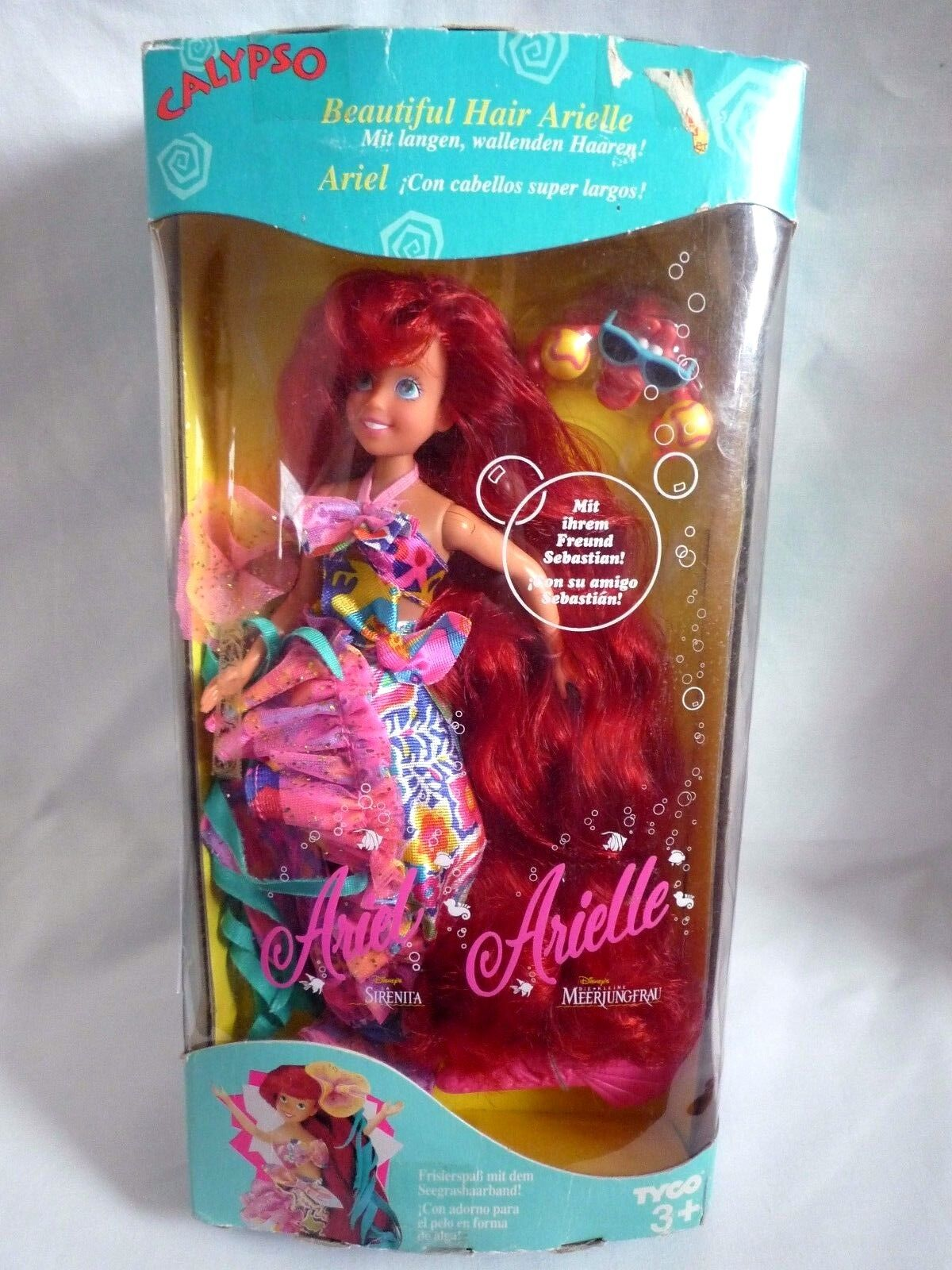 CALYPSO BEAUTIFUL HAIR ARIEL   LITTLE MERMAID   IN ORIGINAL BOX   WITH SEBASTIAN