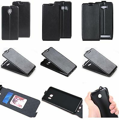 Black Luxury Vertical Flip PU Leather Card Slot Case Fashion Phone Wallet Cover
