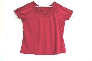 Van-Heusen-Women-XL-Ruffled-Elastic-Neck-Short-Sleeve-Front-Keyhole-Blouse-Top