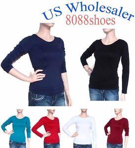 Wholesale-Lots-Women-039-s-One-Size-Long-Sleeve-Plain-Round-Neck-Shirt-NEW-10-PC