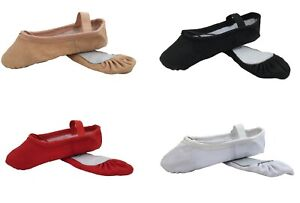 Canvas-Ballet-Shoes-Dance-Gymnastic-Yoga-Full-Sole-Pink-Black-White-Red