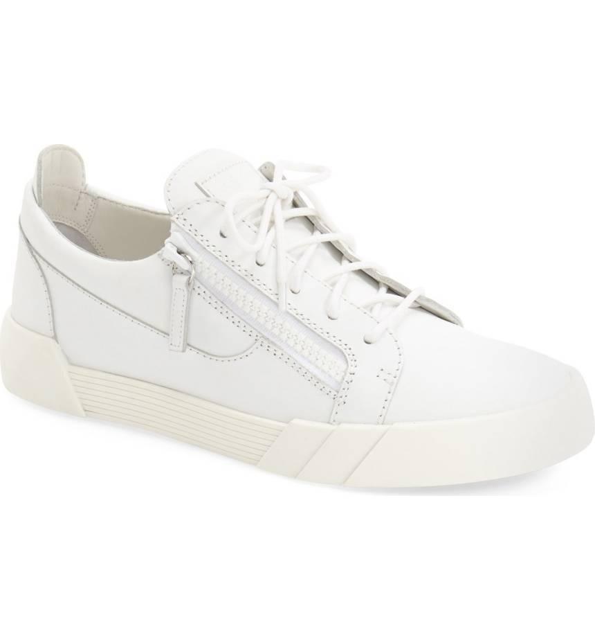 New 665 Giuseppe ZanottiWhite Leather Side Zip Low Top Sneaker Men's 39/6US