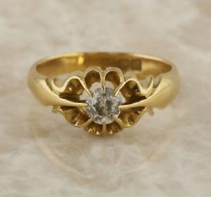 Vintage-Diamond-Gypsy-Ring-18ct-Yellow-Gold-Size-O