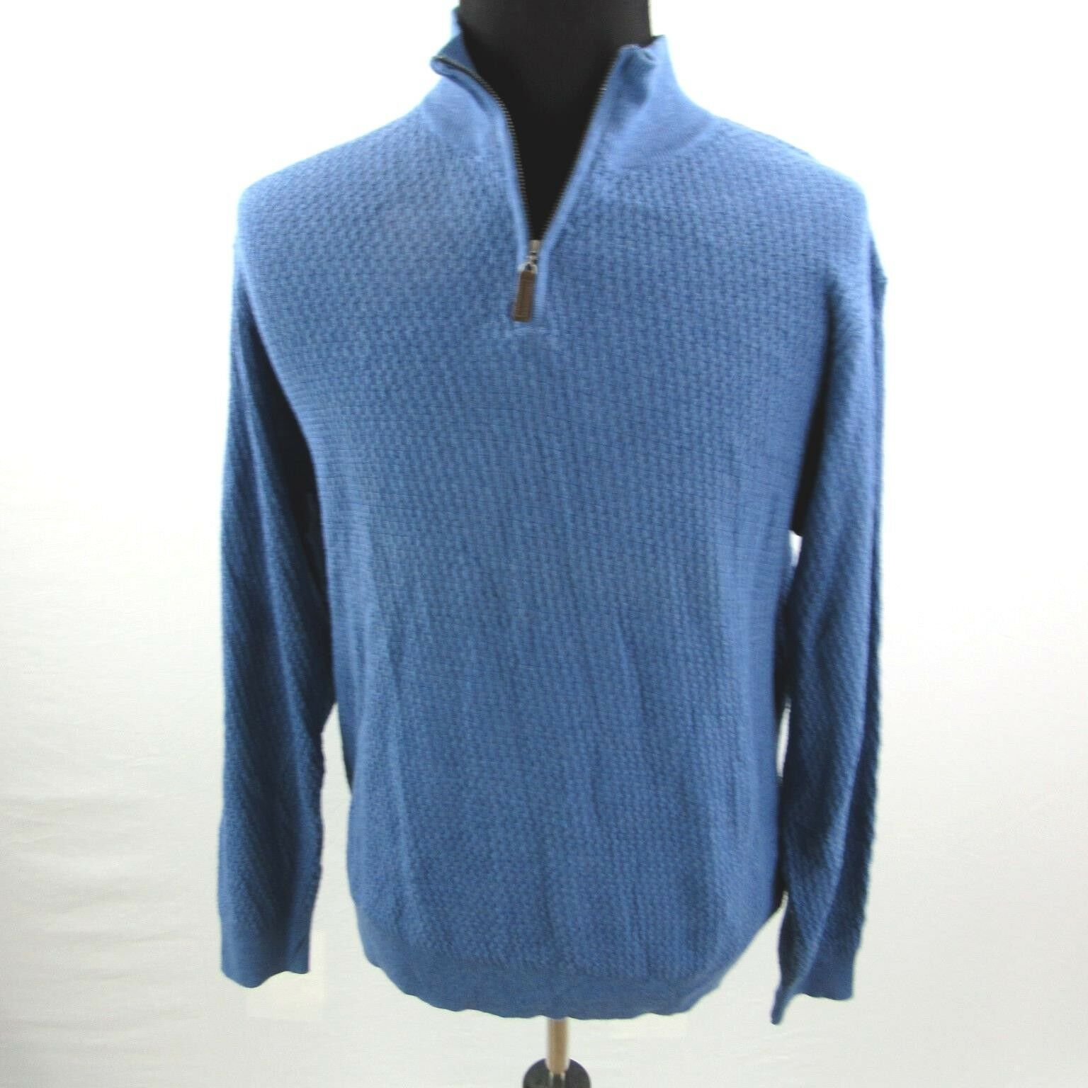 NEW Tasso Elba 1 2 Zip Sweater Mens XL bluee Cotton NWT
