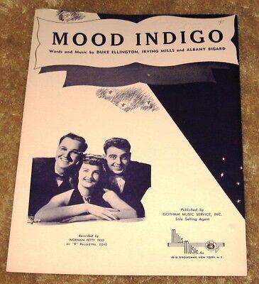VINTAGE MOOD INDIGO BY DUKE ELLINGTON NORMAN PETTY TRIO SHEET ...