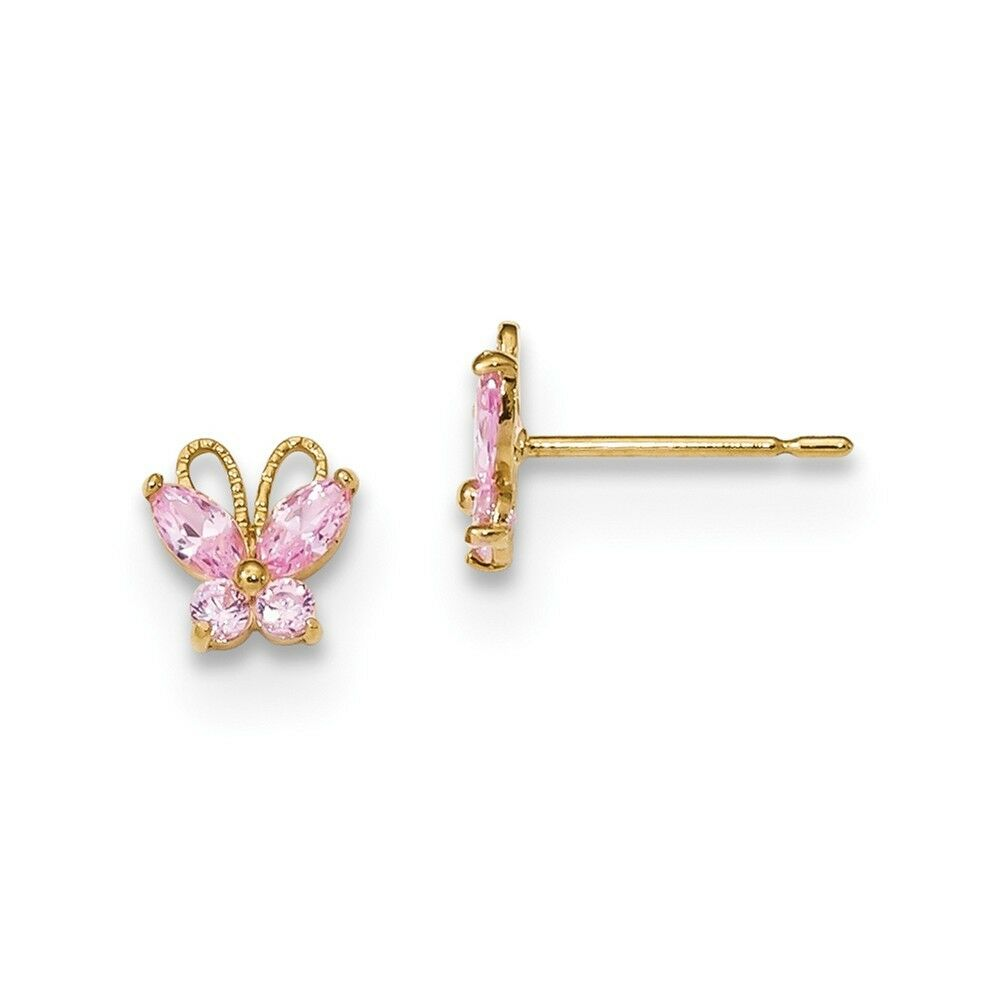 14kt Yellow gold Madi K Kids Pink CZ Butterfly Post Earings