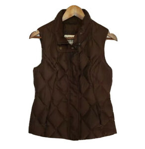 Eddie-Bauer-Premium-Goose-Down-Puffer-Vest-Quilted-Full-Zip-Womens-Small-Brown