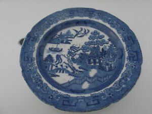 Antique Blue & White Willow Pattern Early Popular Céramique Réchauffement Plaque.-afficher Le Titre D'origine Hr6ox7bh-08003103-439335535