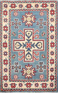 Geometric Blue Super Kazak Oriental Area Rug Wool Hand-Knotted Home Decor 2x3 ft