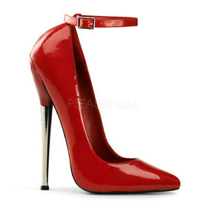 """DEVIOUS Exotic Sexy Metal 6 1/4"""" Spike Heel Red Shoes Pumps ..."""