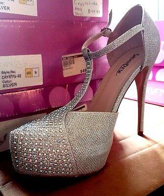 Silverdew Crystal-02 Glitter Woman Rhinestone Shoe Heel Stiletto Heel, Silver
