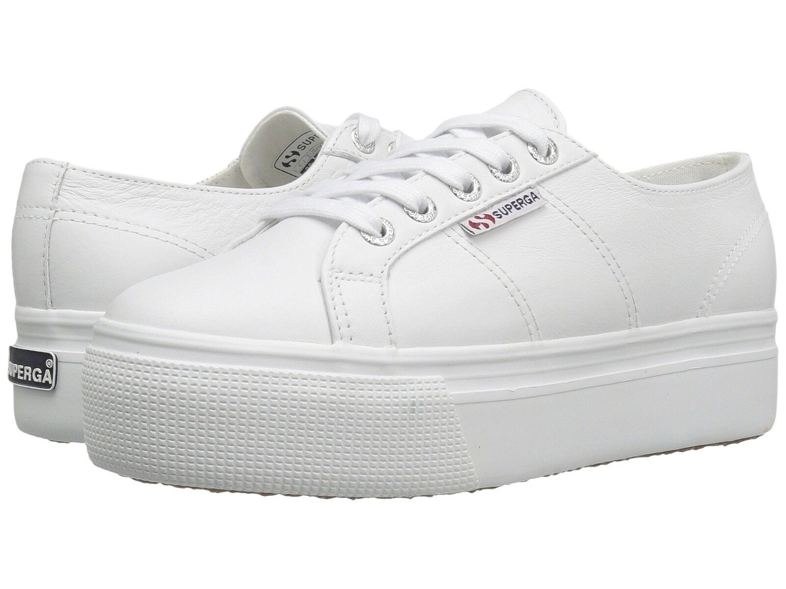 SUPERGA ACOT LINEA WOMENS MENS WHITE LEATHER PLATFORM TENNIS SHOES W 10 M 8.5 BN