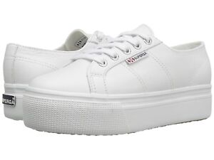 40f3addfd30 Details about SUPERGA ACOT LINEA WOMENS MENS WHITE LEATHER PLATFORM TENNIS  SHOES W 10 M 8.5 BN