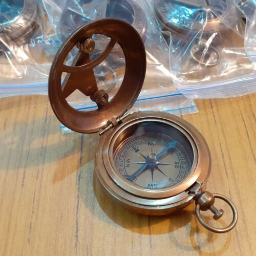 Lot of 12 Antique Brass Push Button Sundial Compass Marine Gift