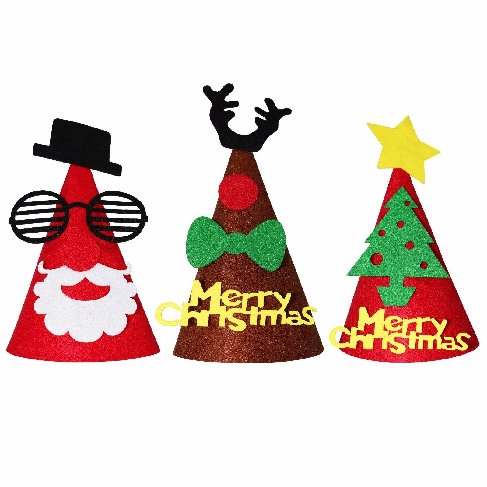 6 Christmas Xmas Novelty Felt Party Santa Elf Hats Fancy Dress With 3D STICKERS