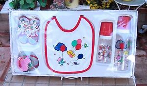 NEW Best Gift Set for Boys or Girls Baby Bottle, Baby Shoe, Pacifier, apron Set