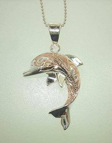 20mm Rose Gold Plated 925 STER Silver Hawaiian Dolphin Long Scrolls Pendant #3
