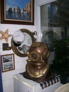 Morse-US-Navy-Mark-V-Diving-Divers-Helmet-Solid-Antique-Full-Size-18-034-Copper