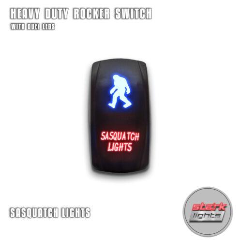 BLUE RED Laser Etched LED Rocker Switch Dual Light 20A ON OFF SASQUATCH LIGHTS
