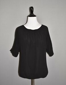 ANN-TAYLOR-LOFT-NEW-58-Black-Short-Sleeve-Blouse-Elastic-Waist-Hem-XS