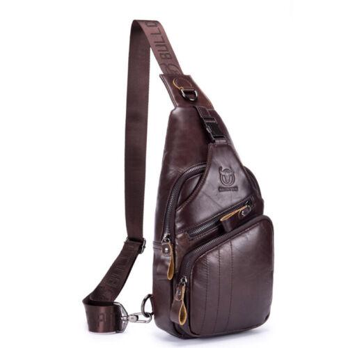 Men/'s Genuine Leather Casual Sling Chest Crossbody Single Shoulder Business Bag