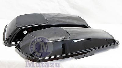 Mutazu Vivid Black 6x9 Speaker Lids fit 2014 up Harley Touring Models FLH FLT