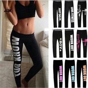 Women's YOGA Fitness Pants Running Sport High Waist Cropped Leggings Size S-XL
