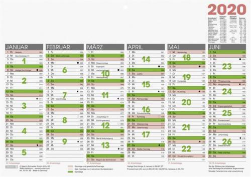 2020 Brunnen Tafelkalender A4 Arbeitstage