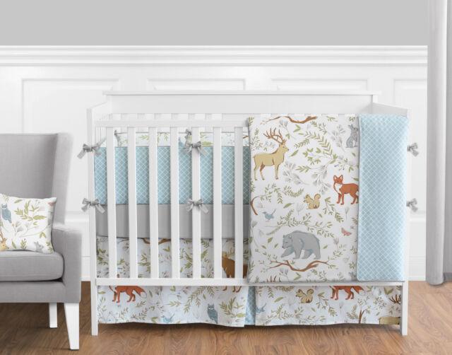 Woodland Animal Toile Baby Boy Or Bedding 9pc Crib Set By Sweet Jojo Designs Ebay