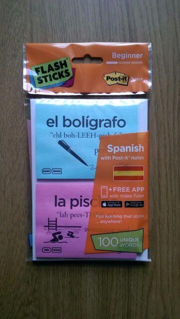 Flashsticks Spanish Beginner Level 1 Printed Post-it Notes
