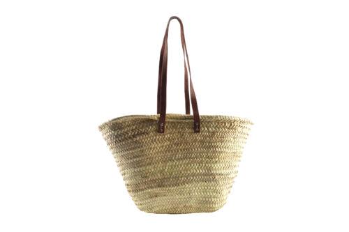 Ibizatasche aus Palmblatt mit Echt-Lederhenkeln