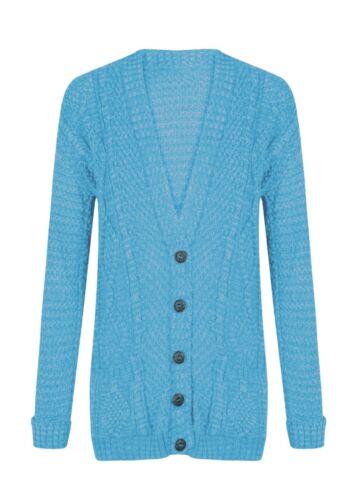 Nouveau Femme Daisy Open Front Bouton Boyfriend Cardigan Pull Tricot Top UK 8-26