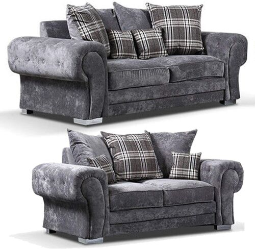 Details about  /*Brand New* Cheap Luxury Grey Fabric 3+2 Seater Sofa HHI 004 Free Delivery