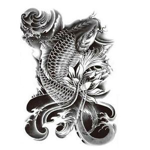 Koi Fish Tattoo Large Temporary Tattoo Fish Tattoo Black Tattoo