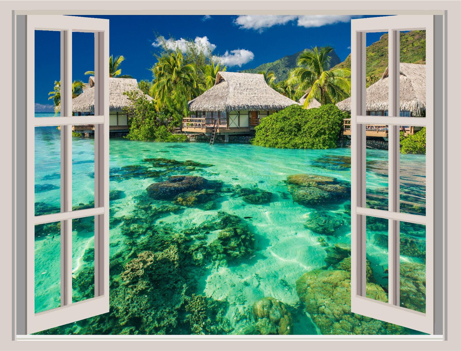 Tropical Island Beach Window View Repositionable Wall Sticker Wall Mural 48x36