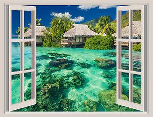 Tropical Wall Murals tropical island beach window view repositionable wall sticker wall