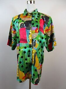 Shirt African Be78 Print Sz Blouse Barclay Women's Plus Summer Betty Vtg Causal qn6Bx7