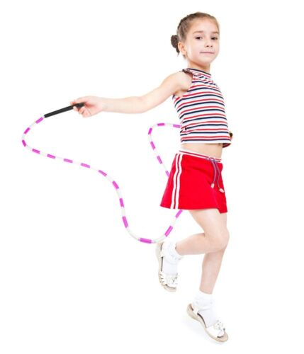 K-Roo Blue and White 7-foot Jump Rope with Segmentation Kids Gym Play Recreation