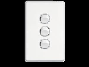 Clipsal-Slimline-SC2033VA-WE-3-Gang-Triple-Wall-Switch-SC2000-series-White