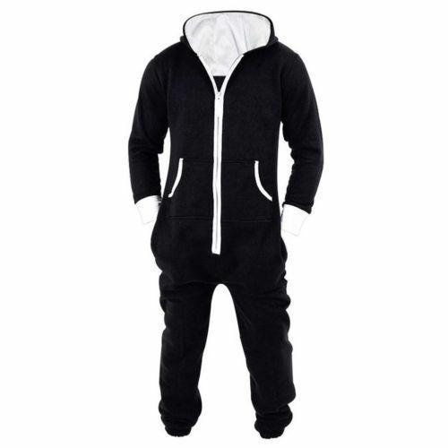 New Mens Womens Unisex Hooded Zip Jumpsuit Onesie0 2019
