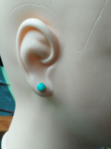 6mm round natural amazonite sterlin silver earring stud summer color girl gift
