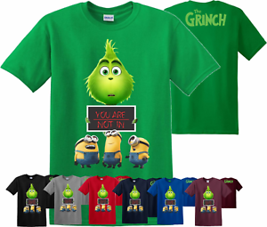 fc081d49 Image is loading The-Grinch-T-Shirt-Funny-Minions-dialogue-Christmas-