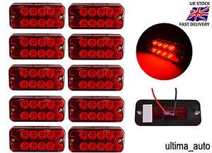 10-X-12V-8-Led-Face-avant-Arriere-Rouge-Feux-de-Position-Lampes-Camion-Remorque