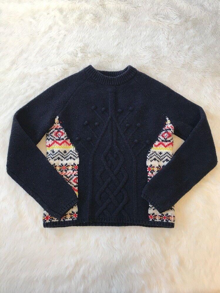 Paul & Joe Sister Navy bluee Pepin Cable Knit Wool Sweater Size 1 US Small