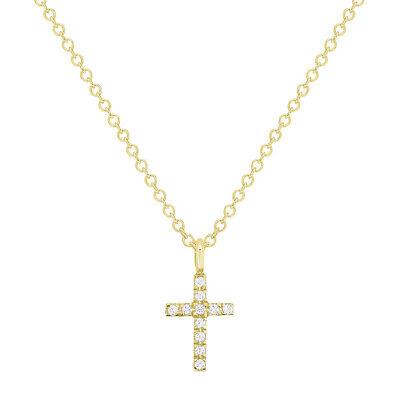 Men Women 14K White Gold Tiny 0.04 cttw Diamond Cross Pendant Necklace