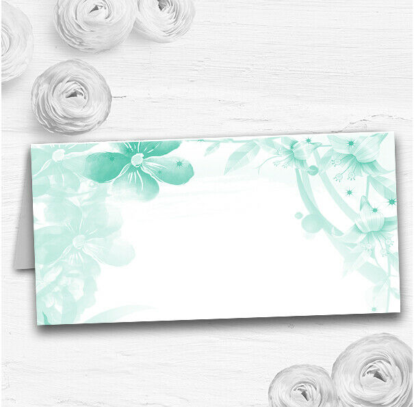 Grün Watercolour Floral Wedding Table Seating Name Place Cards