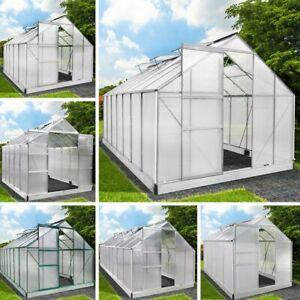 Gewächshaus Treibhaus Gartenhaus Glashaus Polycarbonat mit Fundament Alu Silber