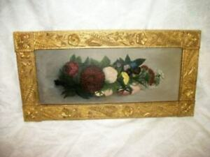 VICTORIAN EASTLAKE FLORAL OIL PAINTING LONG NARROW GILT AESTHETIC FRAME ANTIQUE
