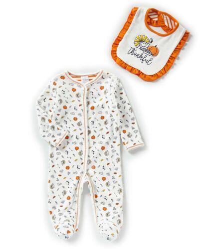 STARTING OUT BABY GIRL Layette Sleeper Bib Thanksgiving Thankful White NWT!
