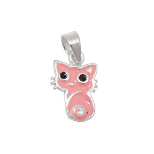 Colgante rosa gato 925 Sterling cadenas de plata colgante nuevo /& en su embalaje original